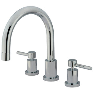 "Concord Two Handle 8-16"" Widespread 3-Hole Deck-Mount Roman Tub Filler Faucet w/Metal lever, 7.0 gpm"