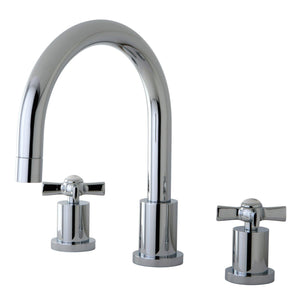 "Millennium Two Handle 8-16"" Widespread 3-Hole Deck-Mount Roman Tub Filler Faucet w/Metal Cross, 7.0 gpm"
