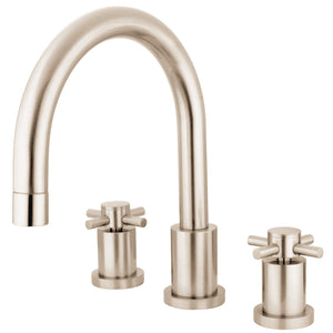 "Concord Two Handle 8-16"" Widespread 3-Hole Deck-Mount Roman Tub Filler Faucet w/Metal Cross, 7.0 gpm"