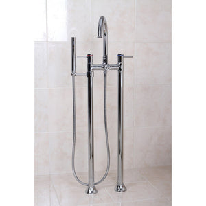 Concord Three Handle Floor-Mount Freestanding Tub Filler Faucet w/Metal Lever and Handshower, 1.8 gpm & 7.0 gpm