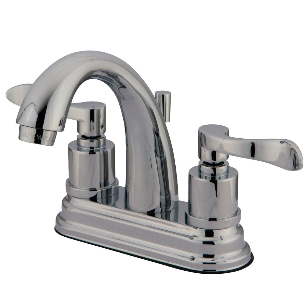 "Two-Handle 3-Hole Deck Mount 4"" Centerset Bathroom Faucet with Brass Pop-Up"