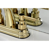 "Elinvar Two-Handle 3-Hole Deck Mount 4"" Centerset Bathroom Faucet with Brass Pop-Up"