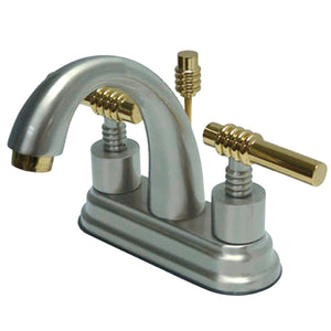 "Milano Two Handle 4"" Centerset 3-Hole Bathroom Faucet w/Metal Lever - Includes Pop-Up Drain, 1.2 gpm"
