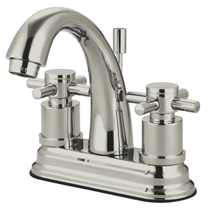 "Concord Single Handle 4"" Centerset 1 or 3 Hole Bathroom Faucet w/Metal Cross - Includes Pop-Up Drain, 1.2 gpm"