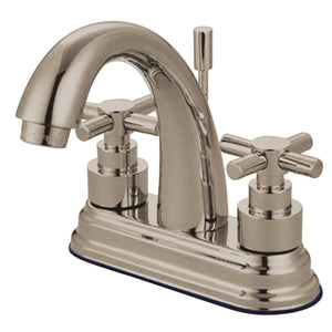"Elinvar Two Handle 4"" Centerset 3-Hole Bathroom Faucet w/Metal Cross - Includes Pop-Up Drain, 1.2 gpm"