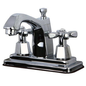 "Classic Two-Handle 3-Hole Deck Mount 4"" Centerset Bathroom Faucet with Brass Pop-Up"