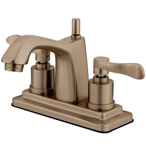 "Classic Two Handle 4"" Centerset 3-Hole Bathroom Faucet w/Metal Lever - Includes Pop-Up Drain, 1.2 gpm"