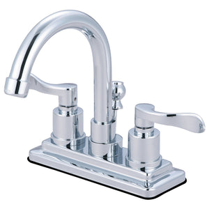 "NuWave Two-Handle 3-Hole Deck Mount 4"" Centerset Bathroom Faucet with Brass Pop-Up"