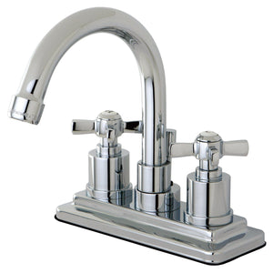 "Millennium Two Handle 4"" Centerset 3-Hole Bathroom Faucet w/Metal Cross - Includes Pop-Up Drain, 1.2 gpm"