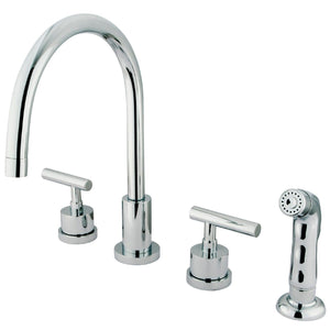 "Manhattan Two Handle 8-16"" 4-Hole Widespread Kitchen Faucet w/Metal Lever and Side Spray, 1.8 gpm"