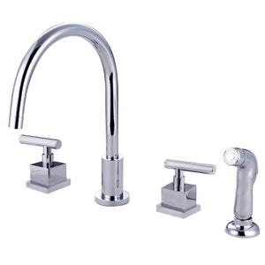 "Claremont Two Handle 8-16"" 4-Hole Widespread Kitchen Faucet w/Metal Lever and Side Spray, 1.8 gpm"
