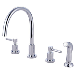"Concord Two Handle 8-16"" 4-Hole Widespread Kitchen Faucet w/Metal Lever and Side Spray, 1.8 gpm"