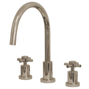 "Concord Two Handle 8-16"" 3-Hole Widespread Kitchen Faucet w/Metal Cross, 1.8 gpm"