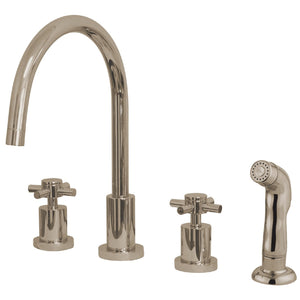 "Concord Two Handle 8-16"" 4-Hole Widespread Kitchen Faucet w/Metal Cross and Side Spray, 1.8 gpm"