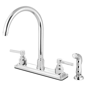 "Elinvar Two Handle 8"" Centerset 4-Hole Kitchen Faucet w/Metal Lever and Side Spray, 1.8 gpm"