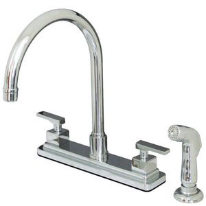 "Executive Two Handle 8"" Centerset 4-Hole Kitchen Faucet w/Metal Lever and Side Spray, 1.8 gpm"
