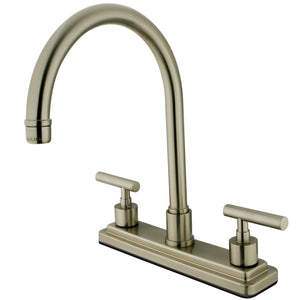 "Manhattan Two Handle 8"" Centerset 3-Hole Kitchen Faucet w/Metal Lever, 1.8 gpm"