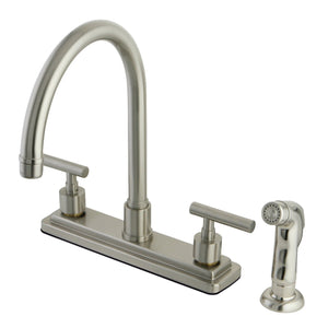 "Manhattan Two Handle 8"" Centerset 4-Hole Kitchen Faucet w/Metal Lever and Side Spray, 1.8 gpm"