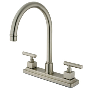 "Claremont Two Handle 8"" Centerset 3-Hole Kitchen Faucet w/Metal Lever, 1.8 gpm"