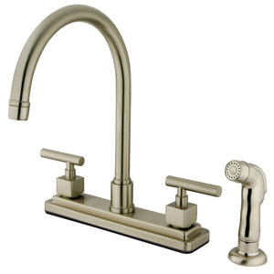 "Claremont Two Handle 8"" Centerset 4-Hole Kitchen Faucet w/Metal Lever and Side Spray, 1.8 gpm"