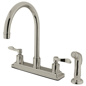"Classic Two Handle 8"" Centerset 4-Hole Kitchen Faucet w/Metal Lever and Side Spray, 1.8 gpm"