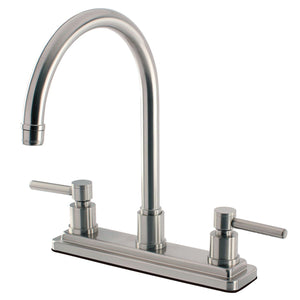 "Concord Two Handle 8"" Centerset 3-Hole Kitchen Faucet w/Metal Lever, 1.8 gpm"