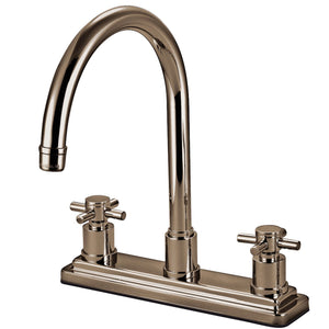 "Concord Two Handle 8"" Centerset 3-Hole Kitchen Faucet w/Metal Cross, 1.8 gpm"