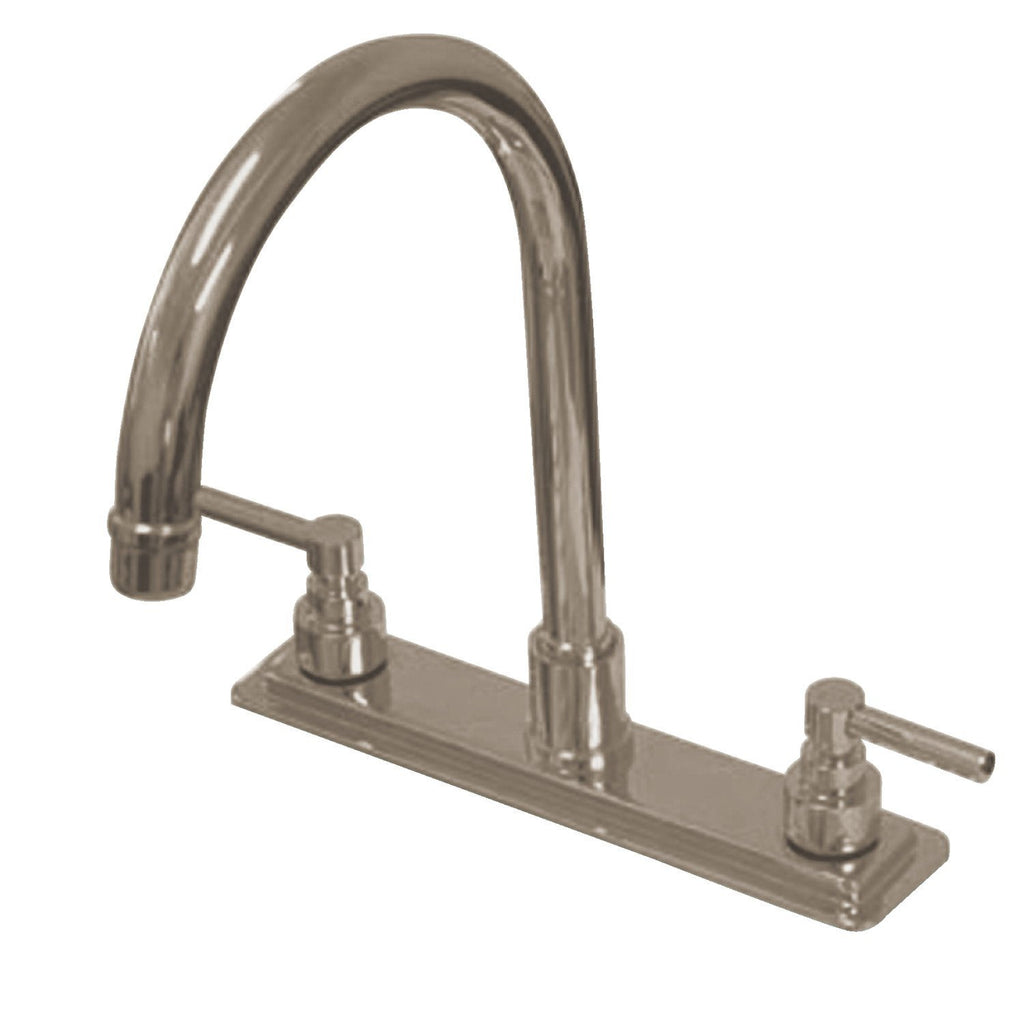 "Elinvar Two Handle 8"" Centerset 3-Hole Kitchen Faucet w/Metal Lever, 1.8 gpm"