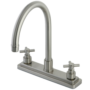 "Classic Two Handle 8"" Centerset 3-Hole Kitchen Faucet w/Metal Lever, 1.8 gpm"