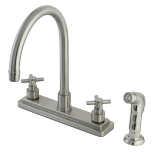"Classic Two Handle 8"" Centerset 4-Hole Kitchen Faucet w/Metal Cross and Side Spray, 1.8 gpm"