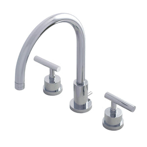 Manhattan Two-Handle 3-Hole Deck Mount Widespread Bathroom Faucet with Brass Pop-Up