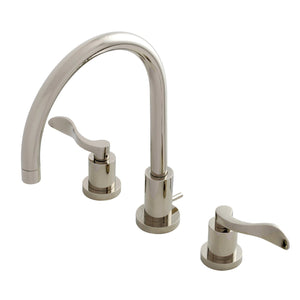 NuWave Two-Handle 3-Hole Deck Mount Widespread Bathroom Faucet with Brass Pop-Up