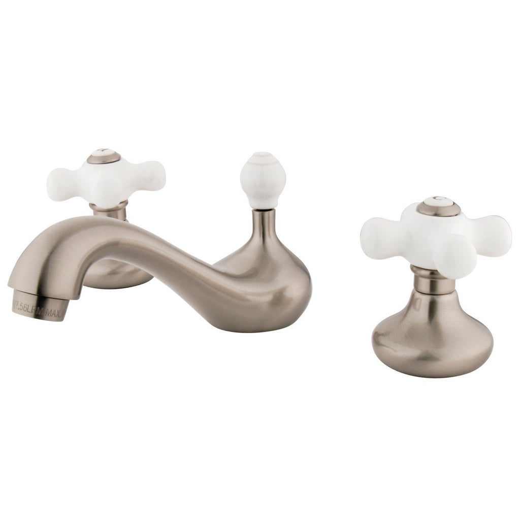 "Classic Two Handle 8-16"" Widespread 3-Hole Bathroom Faucet w/Porcelain Cross - Includes Pop-Up Drain, 1.2 gpm"