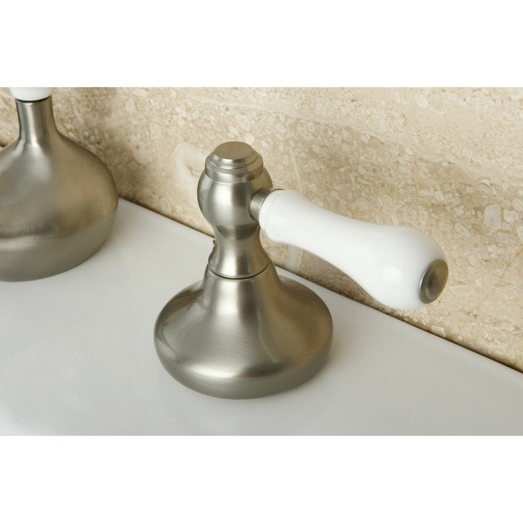 Two-Handle 3-Hole Deck Mount Widespread Bathroom Faucet with Plastic Pop-Up