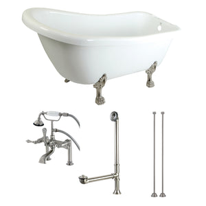 "Aqua Eden 67"" Acrylic Clawfoot Bath Tub with Faucet Drain and Supply Lines Combo"