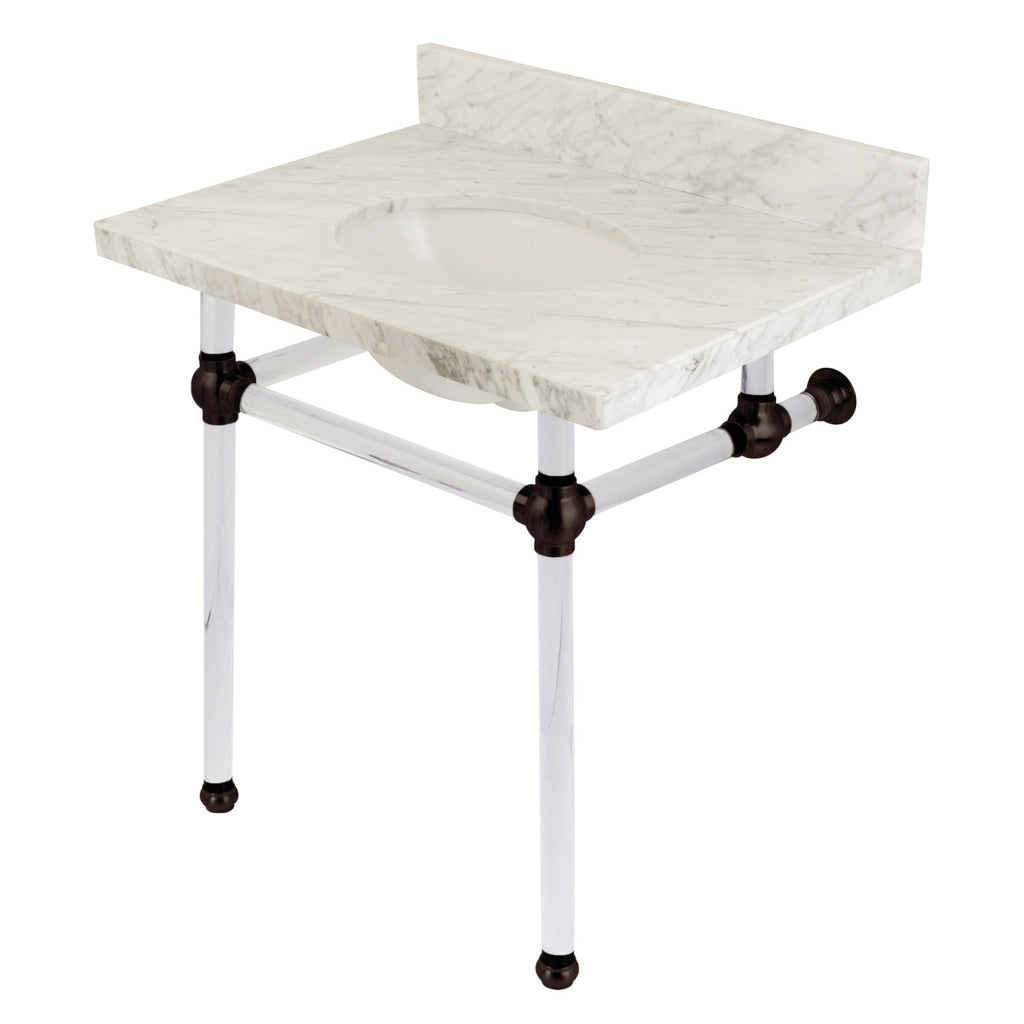 Templeton 30-Inch Marble Console Sink with Acrylic Feet