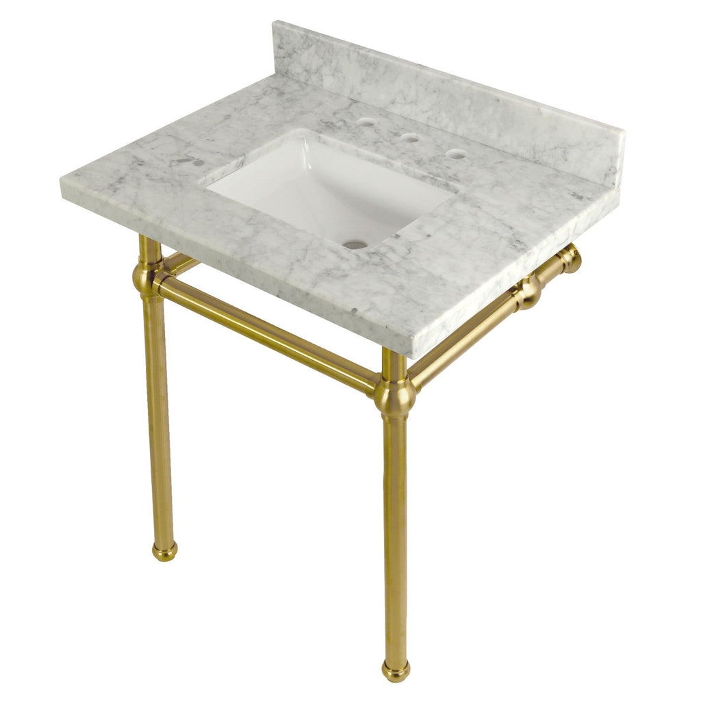 Templeton 30X22 Carrara Marble Vanity with Sink and Brass Feet Combo/Matte Black