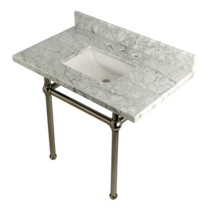 Templeton 36X22 Carrara Marble Vanity with Sink and Brass Feet Combo/Matte Black