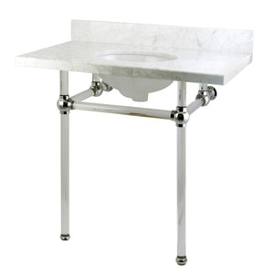 Templeton Templeton Carrara Marble Bathroom Console Vanity with Acrylic Pedestal