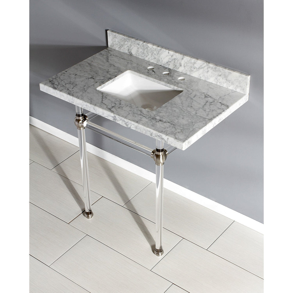 Templeton 30X22 Carrara Marble Vanity with Sink and Acrylic Feet Combo/Matte Black