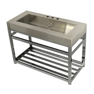 "Commercial 49"" Stainless Steel Sink w/ Iron Bathroom Console Sink Base"