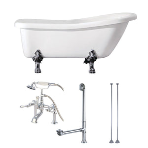 "Aqua Eden 67"" Acrylic Clawfoot Tub with Faucet Drain and Supply Lines Combo"