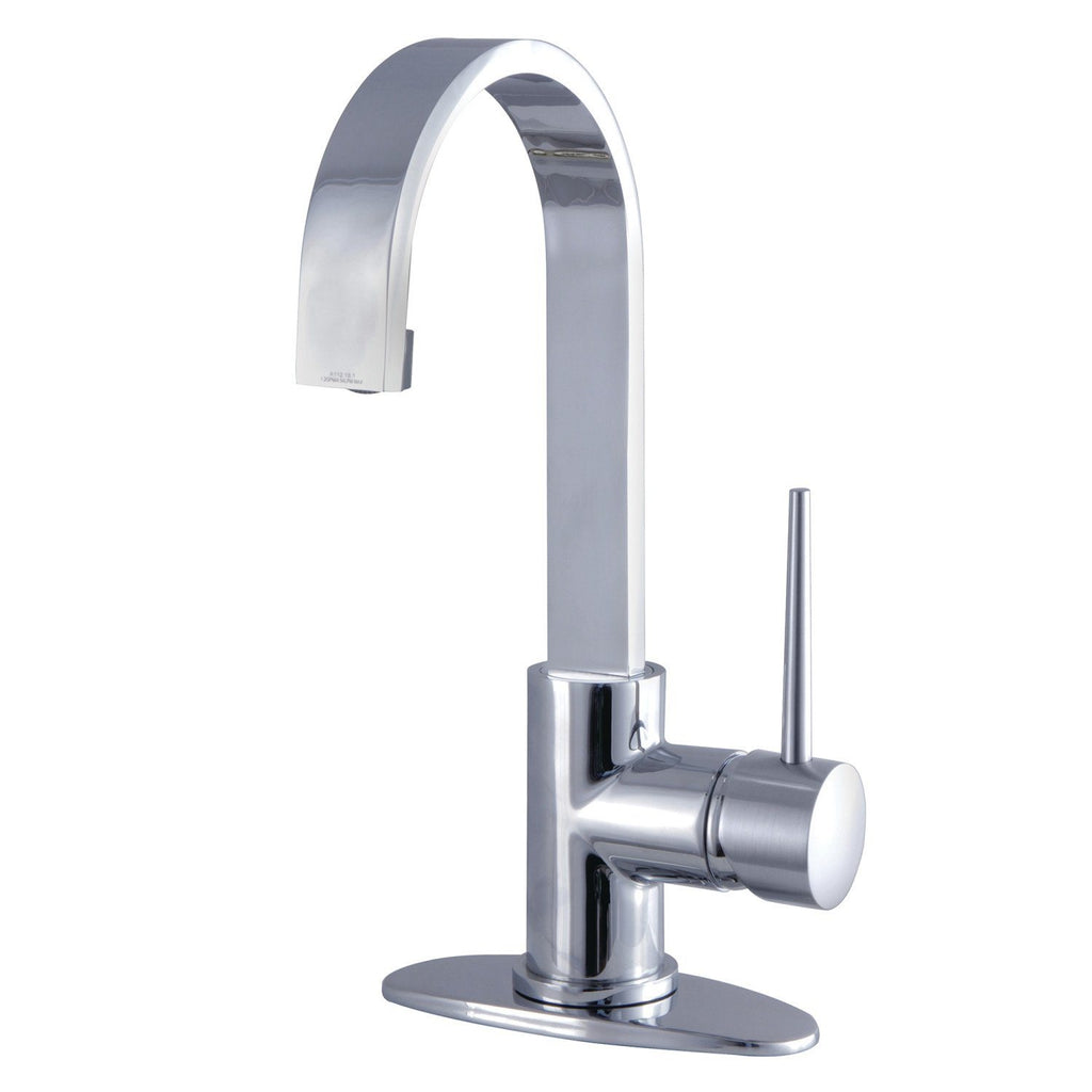 New York Single Handle 1 or 4 Hole Bathroom Faucet w/Metal Lever and Optional Deck Plate - Includes Pop-Up Drain, 1.2 gpm