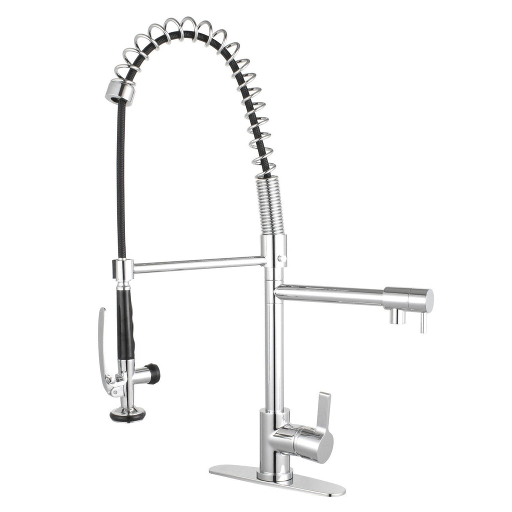Continental Single Handle 1-or-3-Hole Pre-Rinse Pull-Down Spray Spring-Spout Kitchen Faucet w/Metal Lever and Optional Deck Plate, 1.8 gpm
