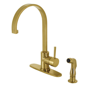 Concord Single-Handle 2-Hole Deck Mount Kitchen Faucet with Side Sprayer