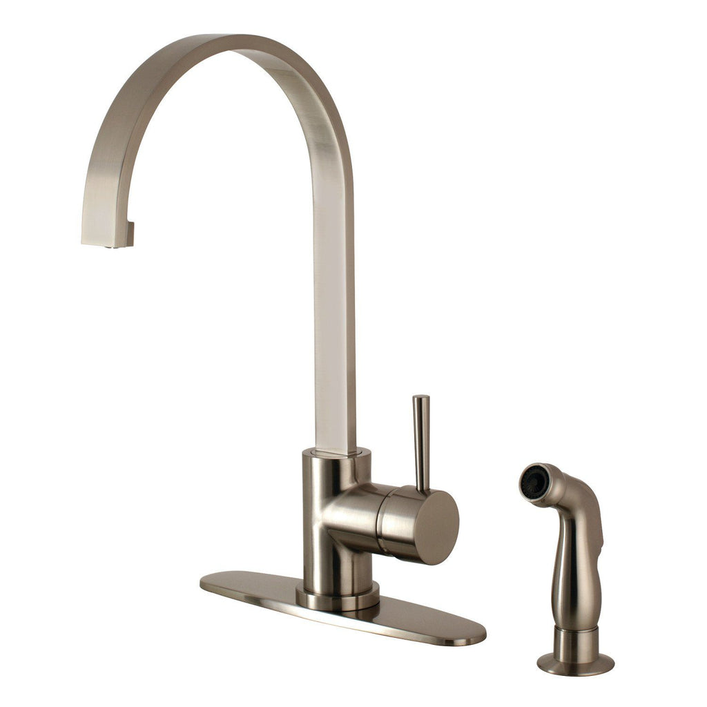 Concord Single Handle 2 or 4 Hole Kitchen Faucet w/Metal Lever, Optional  Deck Plate and Side Spray, 1.8 gpm
