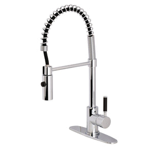 Kaiser Single Handle 1 or 3-Hole Pull-Down Spray Kitchen Faucet w/Metal Lever and Optional Deck Plate, 1.8 gpm
