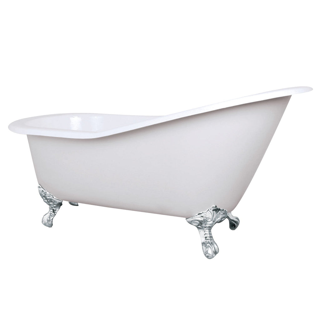 "Aqua Eden 61"" Cast Iron Slipper Clawfoot Bath Tub with Feet No Faucet Drillings"