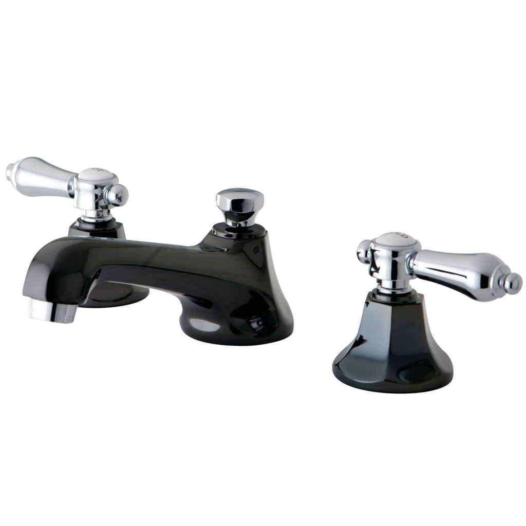 "Water Onyx Two Handle 8-16"" Widespread 3-Hole Bathroom Faucet w/Metal Lever - Includes Pop-Up Drain, 1.2 gpm"