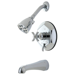 Millennium Two Handle 3-Hole Tub and Shower Faucet w/Metal Cross, 1.8 gpm & 7 gpm